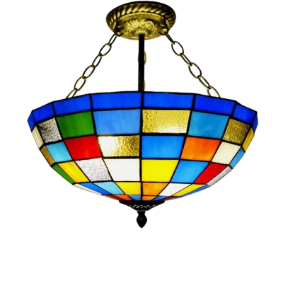 Modern Style Multicolored Grid Pattern Inverted Hanging Lamp 15.75