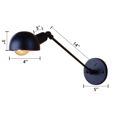 Adjustable Dome Wall Sconce in Black Task Lighting for Studying Room Living Room Hallway