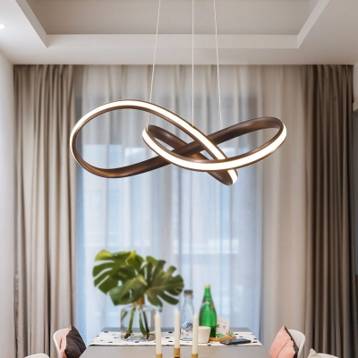 Brown Finish LED Outer Light Acrylic Twisted Chandelier 20