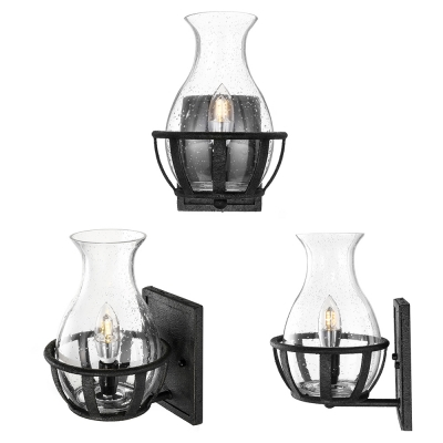 LED Seedy Glass Wall Light Retro Style Single Light Flask Wall Mount Fixture for Pathway Farmhouse