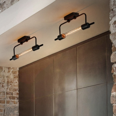 Single Slim Tube Wall Sconce Industrial Wrought Iron Punk Steam Wall Mount Light for Stairways Corridor Porch