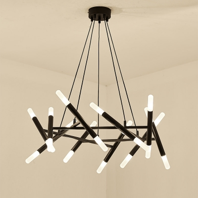 36/48/60W Bright LED Warm White Black Multi Tube LED Chandelier 12/16/20 Light Metal Scissors Chandeliers for Dining Room Living Room