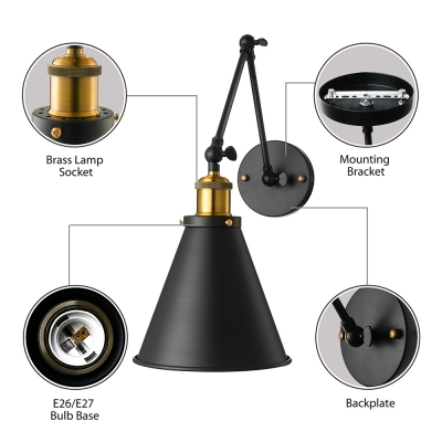 Adjustable Industrial Conical Wall Sconce in Black Swing Arm Single Wall Light for Living Room Bedside
