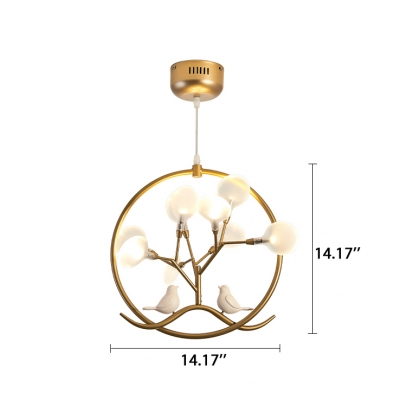 Designers Lighting Post Modern 14 Inch Wide Ring LED Pendant Lights with Birds Decoration 9 Light Heracelum II Chandeliers in Black/Gold