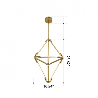 Post Modern Designers Light Slim Metal Geometric Pendant Lighting Creative Gold LED Chandelier for Clothes Stores Bar Gallery