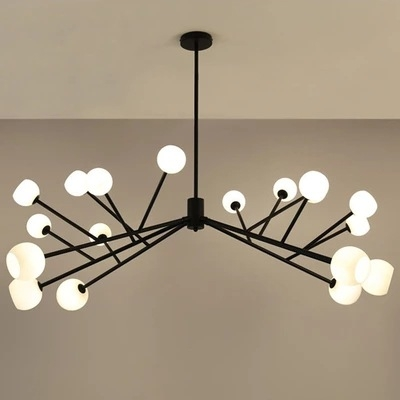 35.5 Inch Long LED Frosted Modo Chandelier 90W 18 Light Metal Branching Chandeliers in Black for Living Room Hotel Reception