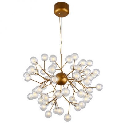 Antique Brass Multi Light Chandelier 27W-192W 9/27/36/45/54/63 Light Glass Globe LED Chandelier in Post Modern Style Decorative Bubbly Lights for Restaurant Cafe Hotel