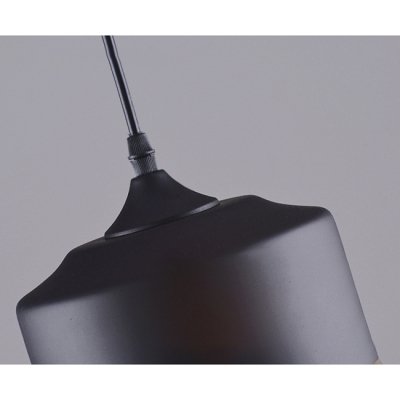 Ceiling Pendant 1 Light with Amber Glass Cylindrical Shade in Black for Dining Room Cafe (2 Sizes for Choice)