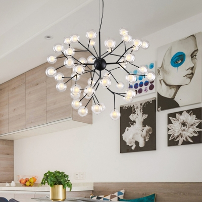 Contemporary Light Fixture 9/27/36/45/54/63 Light LED Modo Chandelier in Black 27W-192W Frosted Globe Chandelier for Living Room Restaurant Cafe