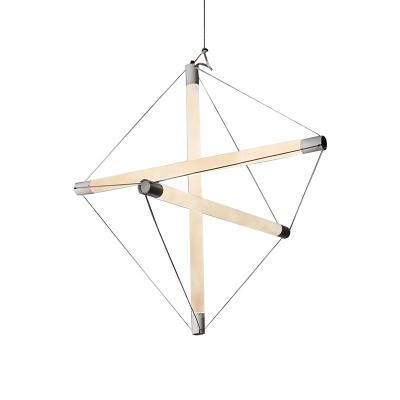 Contemporary Lighting 21 Inch Long LED Geometric Hanging Lights 3/6 Light LED Multi Tube Chandelier in White