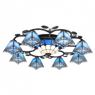Dark/Light Blue Mediterranean Style Flush Mount Ceiling Light with 8 Small Lights and One Center Bowl