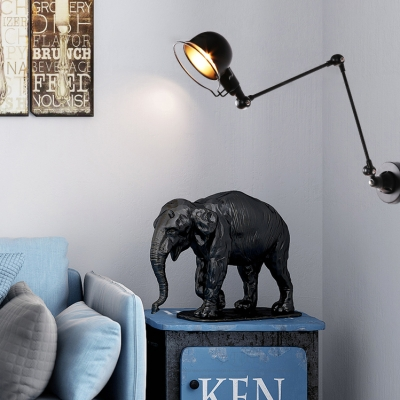 Industrial Swing Arm Dome Wall Light 11.81 inch Long Adjustable 1 Light Metal Sconces in Black