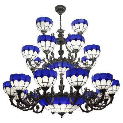 Mediterranean Style 3-Tier Dark Blue Stained Glass Chandelier for Hotel Lobby