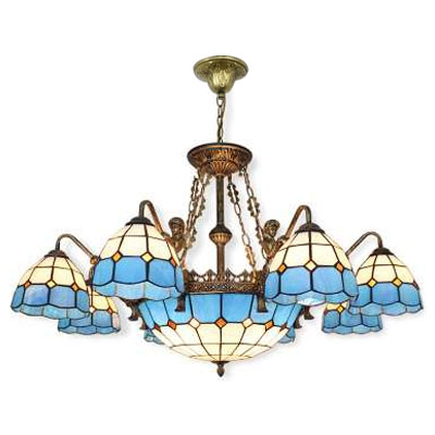 Mediterranean Style Blue&White Checkered Art Glass Chandelier with Bronze Finish Mermaid Arms