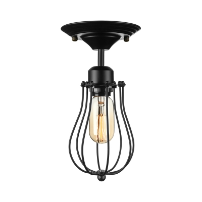 Metal Cage 1 Light Flush Ceiling Light in Black for Warehouse Kitchen Restaurant
