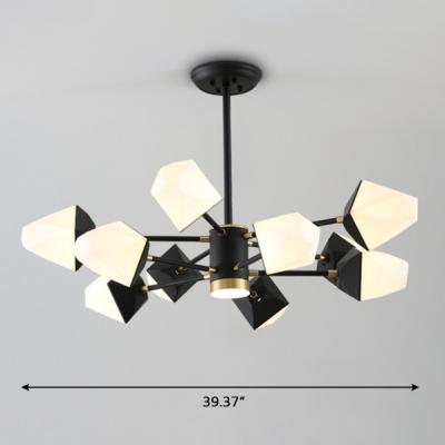 Head Rotating LED Chandelier 6/8/10/12 Light Black Metal Gem Chandelier in Frosted Shade for Living Room Bedroom