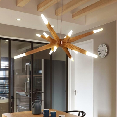 Height Adjustable Modern Wood Chandelier Multi Light 36W LED Warm Light Starburst Chandelier in Acrylic Shade for Restaurant Cafe Bar