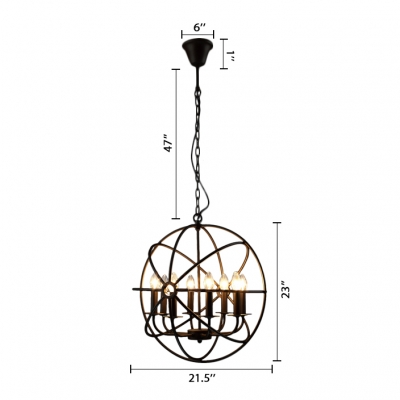 Industrial Black LED Orb Chandelier 8 Light Metal Hanging Light with Globe Cage for Kitchen Restaurant Barn