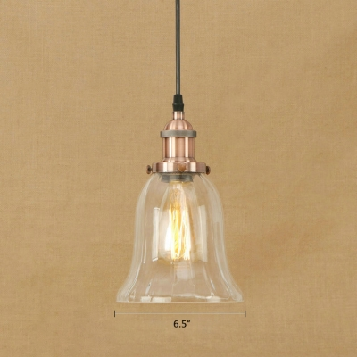 Industrial Simple Mini Pendant 1 Light LED with Bell Shape Clear Glass for Foyer
