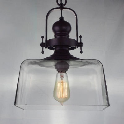 Baycheer / Industrial Square Hanging Pendant 1 Light Suspension with Clear Glass Shade in Black Finish for Cafe
