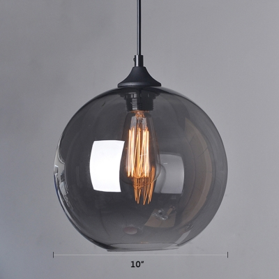Industrial Style Orb Hanging Pendant Smoke Glass 1 Head Drop Light in Black Finish for Cafe Restaurant