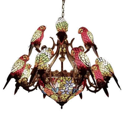 Parrot Designed Stained Glass Shade Center Bowl Chandelier in Shabby Chic Style