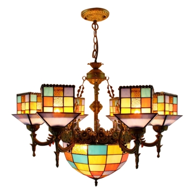 Rustic Style 7-Light Multicolored House Designed Chandelier with Center Bowl
