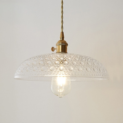 Dome Hanging Ceiling Lamp with Ripple Glass Shade Vintage Style 1 Head Pendant Light in Brass, HL490218