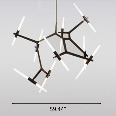 Frosted Multi Tube LED Chandelier 18W-72W 6/10/14/18/20/24 Light Metal Branching Chandeliers in Black for Staircase Villa Hotel