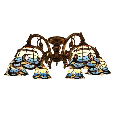 Tiffany Baroque Style Blue Stained Glass 6/9 Lights Semi Flush Mount Ceiling Light for Living Room
