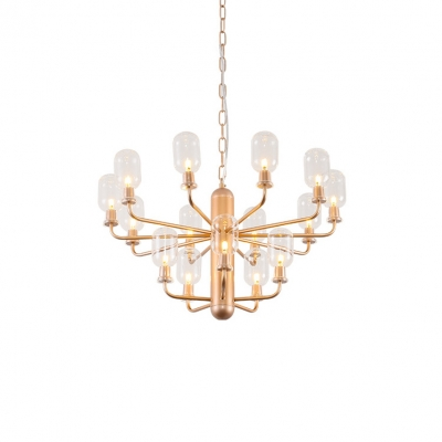 Rose Gold Multi Light Chandelier Low Wattage LED Warm Light 3 Tier Clear Glass Chandelier Light in Vintage Style for Restaurant Entryway Stores