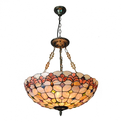 Tiffany Handmade Shell Inverted Pendant Light with Floral&Checkered Bowl Shade 2 Designs for Choice