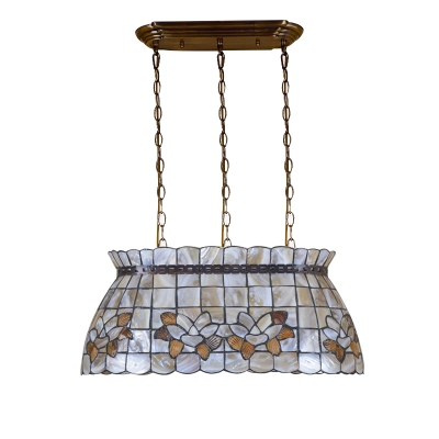Beige Shell Island Chandelier Featuring Checkered&Floral Pattern 21.65 Inch Wide