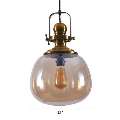 Amber Glass Bottle Ceiling Pendant Retro Style 1 Light Hanging Light Fixture in Gold for Cafe Restaurant