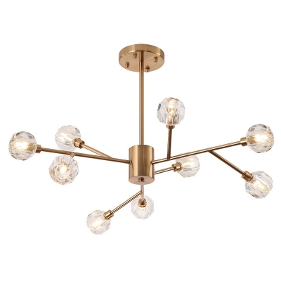 Antique Brass Multi Chandelier 9/12/15/18 Light Gold Crystal Chandeliers Decorative Lights for Living Room Restaurant Bulb Not Included