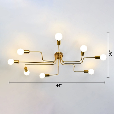 Brushed Gold Large Semi Flush Mount Light Industrial Wrought Iron 8 Light Ceiling Fixture