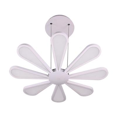 Modern Flower LED Chandelier 72W LED Warm White 8 Light Wedge Chandelier in White for Living Room Dining Table Study Room