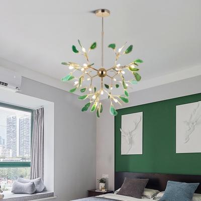Post Modern Designers Lighting Agate LED Chandeliers 12/48/60W 4/16/20 Light Heracelum II Chandeliers in Green Creative Led Lights for Kids Room Bedroom