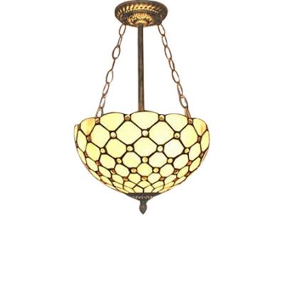 Image of 11.81/15.74in Wide Yellow Beads Accented Inverted Ceiling Pendant Lamp for Living Room Restaurant