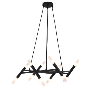 36/48/60W Bright LED Warm White Black Multi Tube LED Chandelier 12/16/20 Light Metal Scissors Chandeliers for Dining Room Living Room