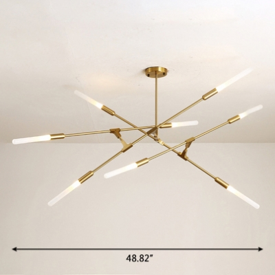 Antique Brass Wands LED Chandelier 4/6/8/10/12 Light Post Modern Metal Slim Tube Led Chandelier Light Indoor Lights for Hallway Clothes Store Restaurant