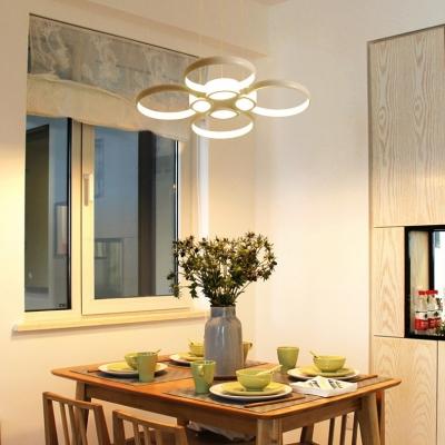 Modern Lighting 3 Light/4 Light LED Flower-Petal Chandelier 38/52W White Multi Light Chandelier in Acrylic for Dining Room Kitchen Bedroom