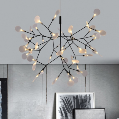Nordic Style Heracleum II Chandelier 30/45/60 Light 9/15/20W High Bright Home Decorative LED Firefly Pendant Lights in Black Finish