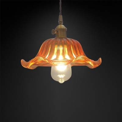 Radial Shade Yellow Glass Pendant 1 Light LED in Industrial Style for Clothes Stores Restaurant
