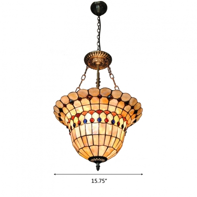 Tiffany Stained Glass Checkered Basket Shaped Inverted Hanging Light with Colorful Jewels