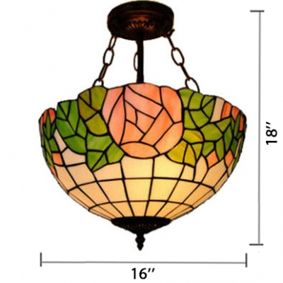 Tiffany Style 2/3-Light Inverted Pendant Lamp with Pink Rose Pattern Glass Shade, 12