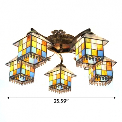 Vintage Bronze Finish 5-Light Semi-Flush Mount Ceiling Fixture with Small House Glass Shade