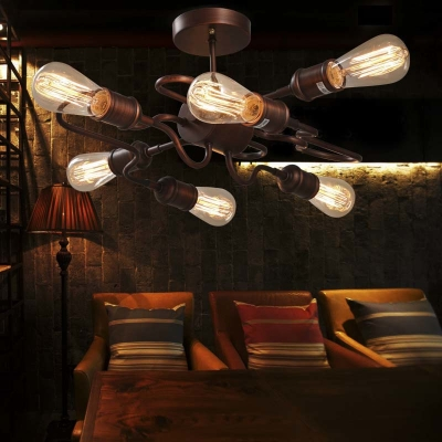 Antique Copper 6 Light Ceiling Light Industrial Wrought Iron Semi Flush Mount Light for Living Room