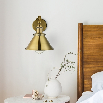 Industrial Style 1 Light Wall Sconce in Antique Brass for Living Room Bedside Porch