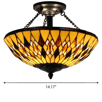 Geometrical Pattern Yellow Stained Glass Bowl Shade Pendant Light Fixture with Amber Jewels